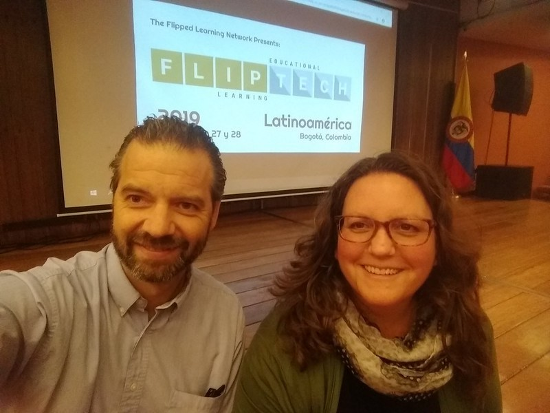 Kate Baker and I were invited to give two preconference workshops before FlipTech Latin America 2019. This shot was before our session for students and staff of ÚNICA.